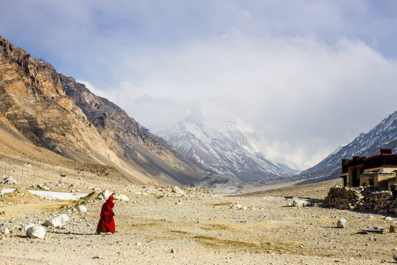 Templo del monte Everest y de la franela fotografía de archivo libre de regalías