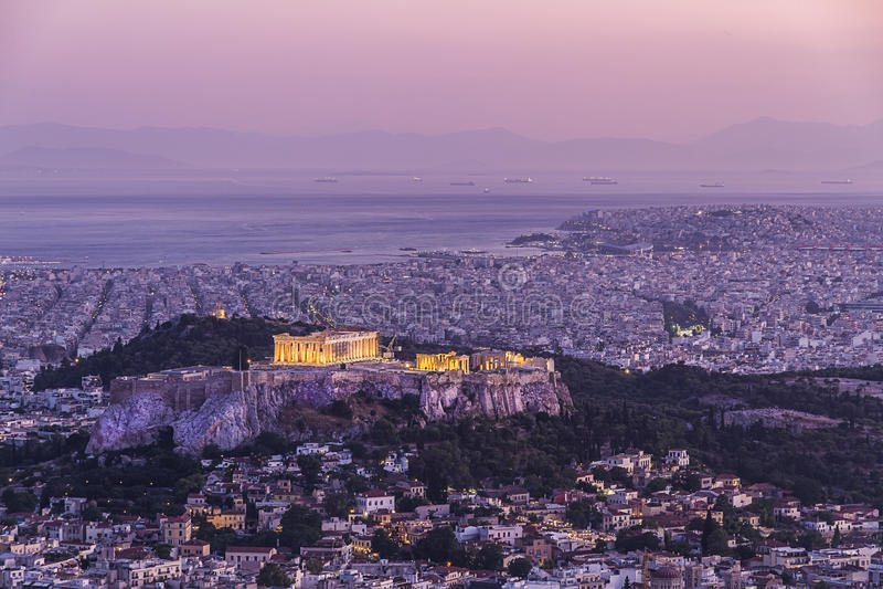 Templo del Parthenon en acrópolis foto de archivo