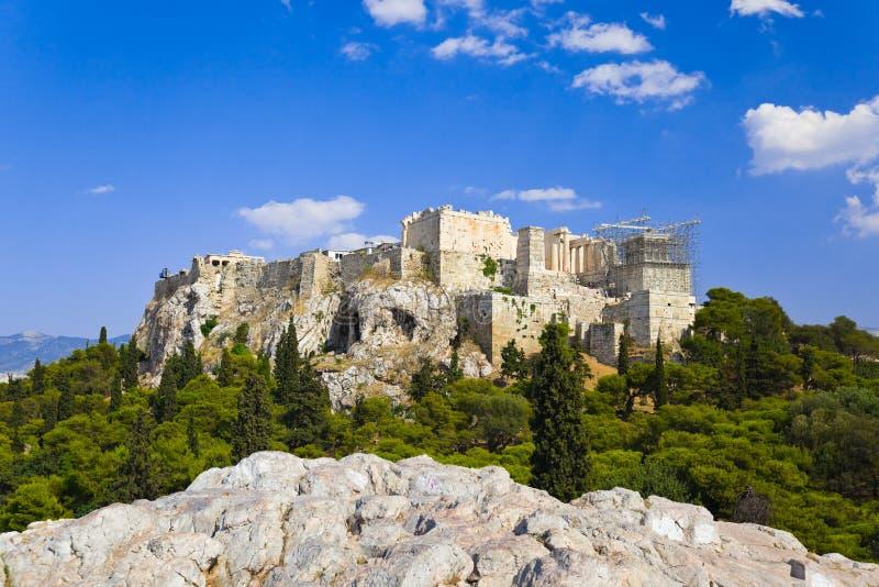 Templo del Parthenon en acrópolis en Atenas, Grecia imagen de archivo libre de regalías