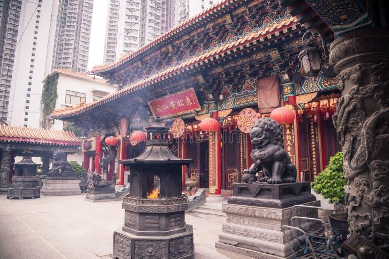 Templo del pecado de Wong Tai en Hong-Kong fotografía de archivo