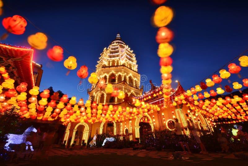 Templo del si del lok de Penang Kek en la noche imagen de archivo libre de regalías