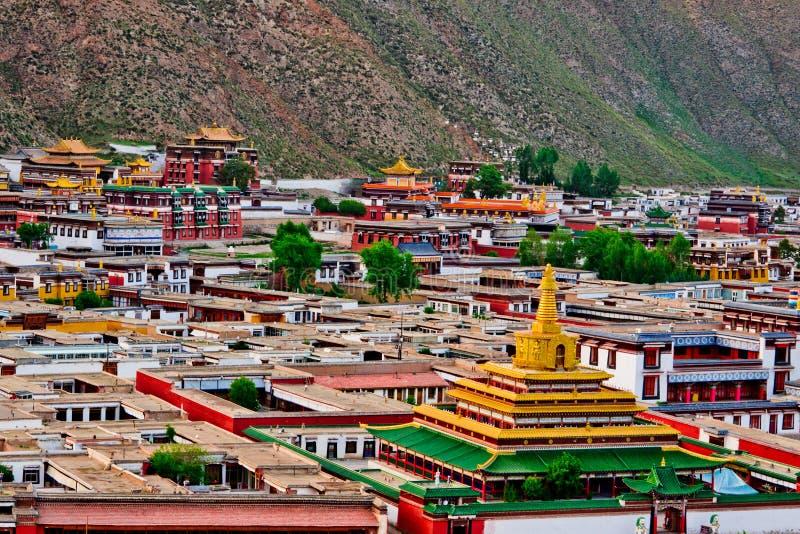 Templo del tibetano del lamasery de Labrang fotografía de archivo