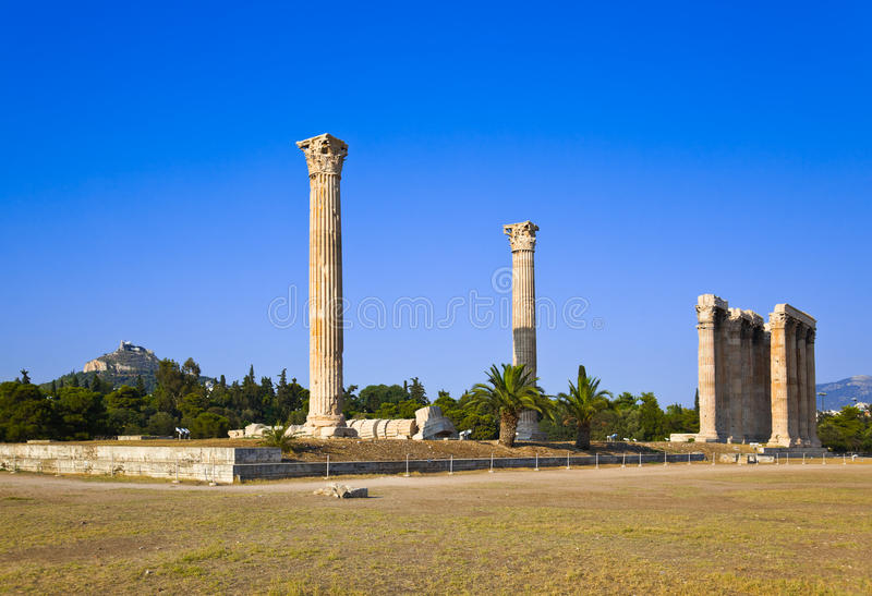Templo del Zeus en Atenas, Grecia foto de archivo libre de regalías