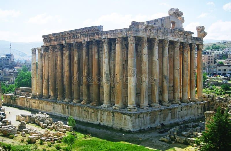 Templo do Bacchus em Baalbek imagem de stock