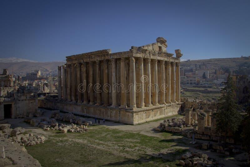 Templo do Baco, Baalbek Líbano fotos de stock royalty free