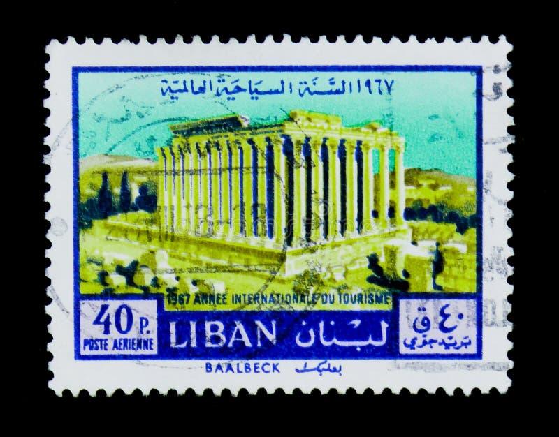 Templo do Baco - Baalbek, serie internacional do ano do turista, imagens de stock