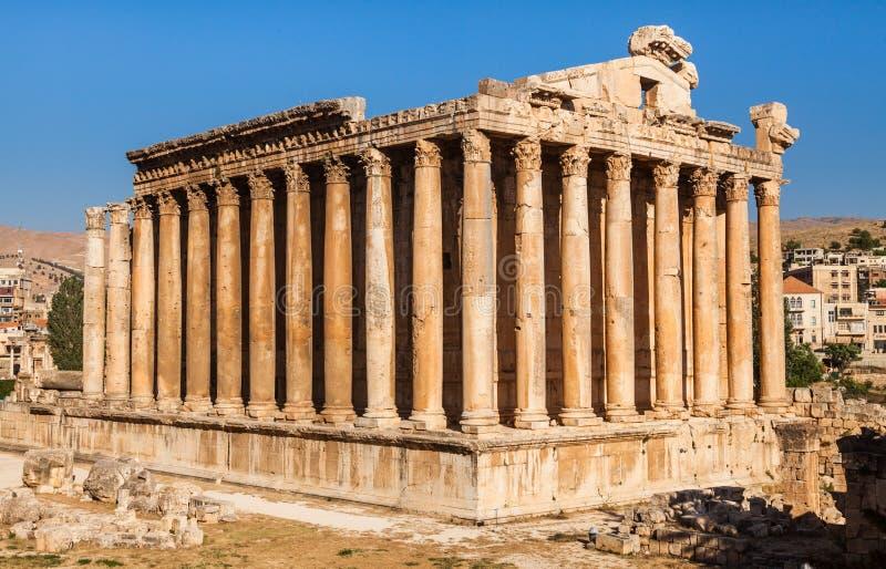 Templo do Baco em ruínas romanas antigas de Baalbek, o Vale do Beqaa de Líbano fotografia de stock