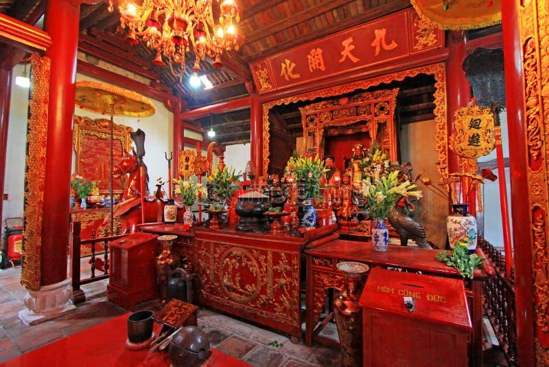 Templo do lago jade Mountain In Hoan Kiem, Hanoi Vietname imagens de stock