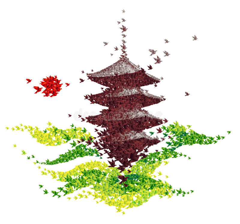 Templo do origâmi de Japão dado forma dos pássaros de voo ilustração stock