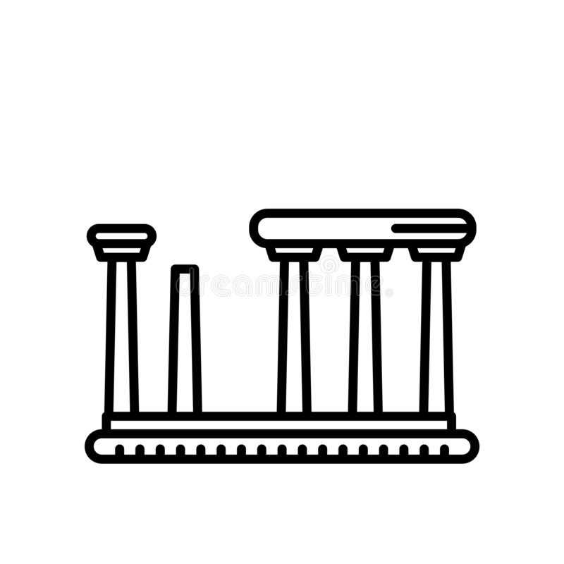 Templo do vetor do ícone de Apollo isolado no fundo branco, templo do sinal de Apollo, linha ou sinal linear, projeto do elemento ilustração stock