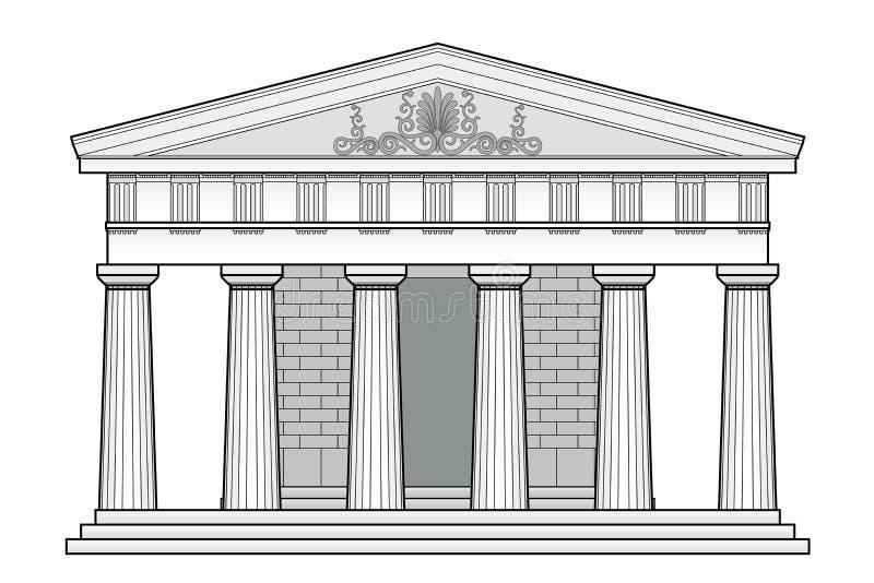 Templo Doric grego ilustração stock