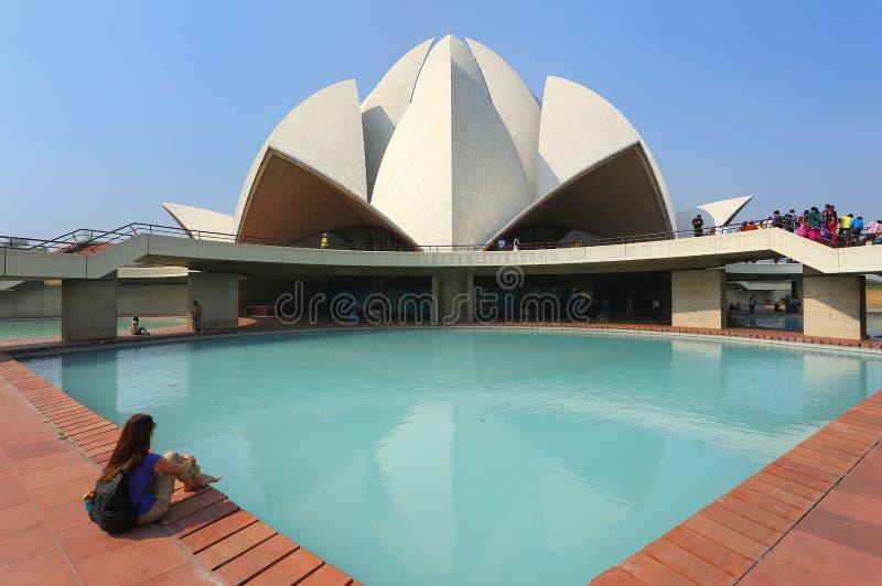 Templo dos lótus em Nova Deli, India fotos de stock