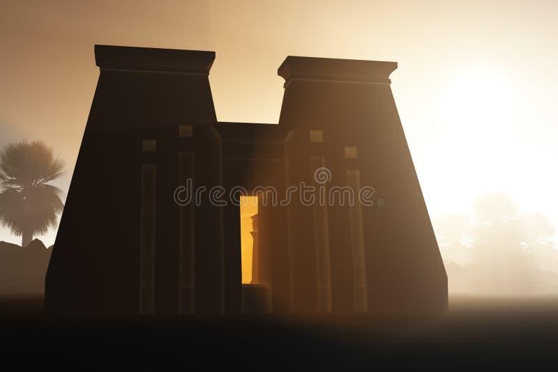 Templo egipcio en la oscuridad ilustración del vector