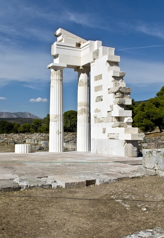 Templo em Epidaurus, Greece de Asklipios fotos de stock