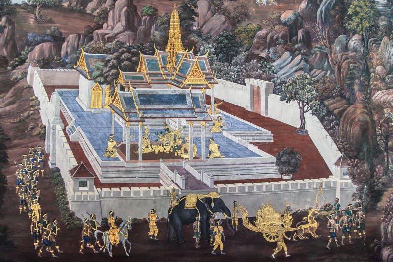Templo emparedado de los murales de Ramakien imagen de archivo libre de regalías