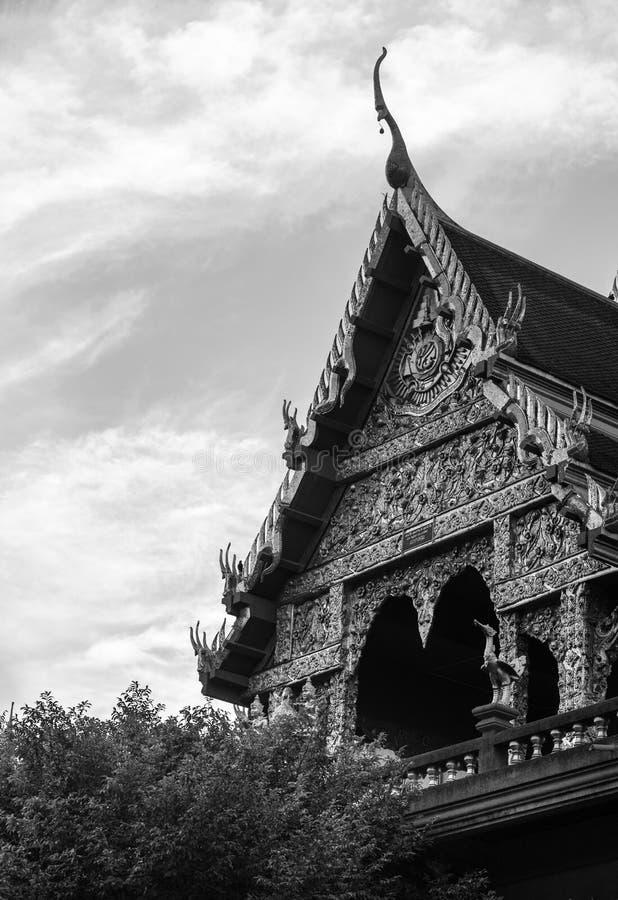 Templo en blanco y negro, Bangkok, Tailandia de Laksi foto de archivo