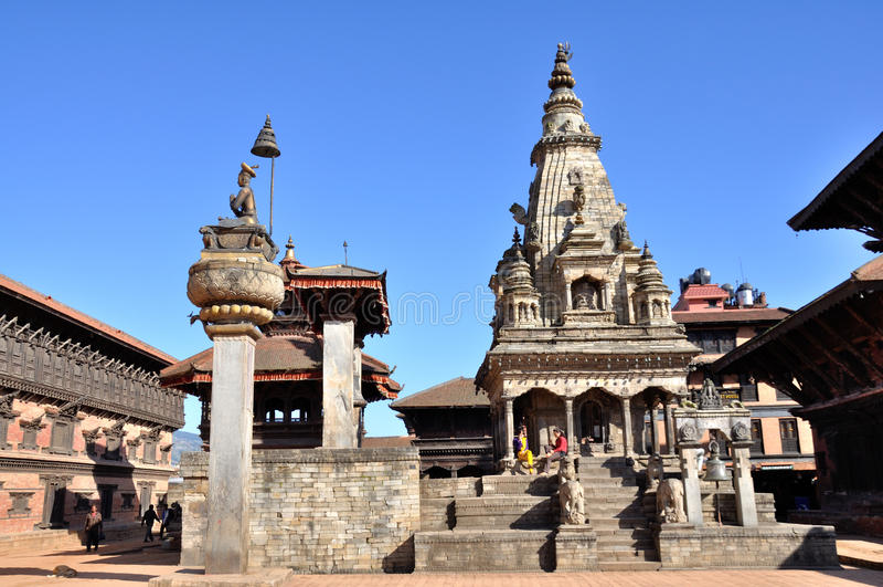Templo en el cuadrado de Bhaktapur Durbar imagen de archivo
