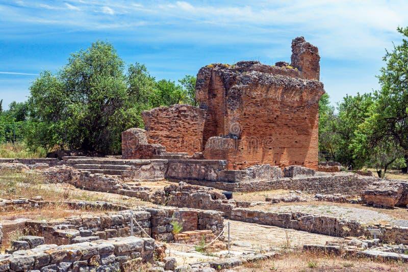 Templo en las ruinas de Milreu, Estoi, Algarve, Portugal foto de archivo