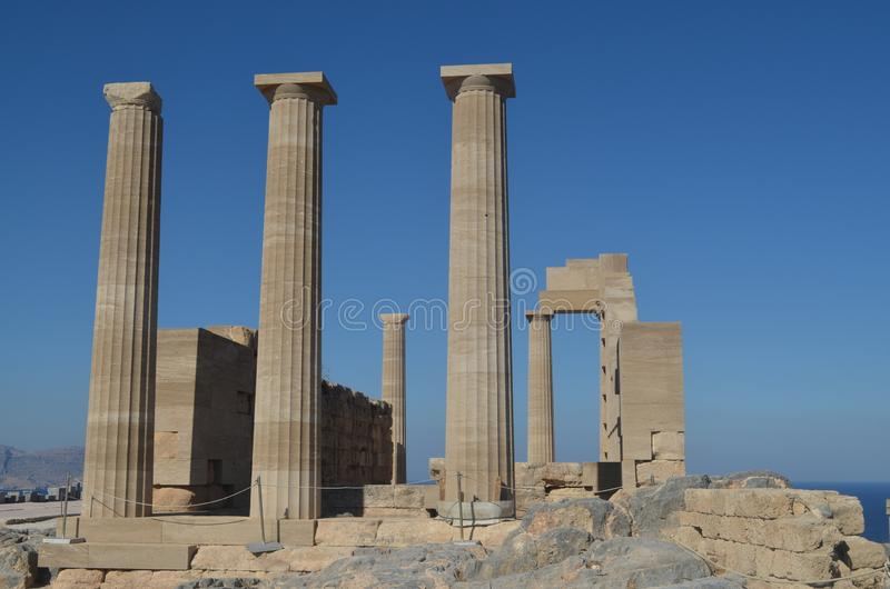 Templo en Lindos en Rhodes Greece imágenes de archivo libres de regalías