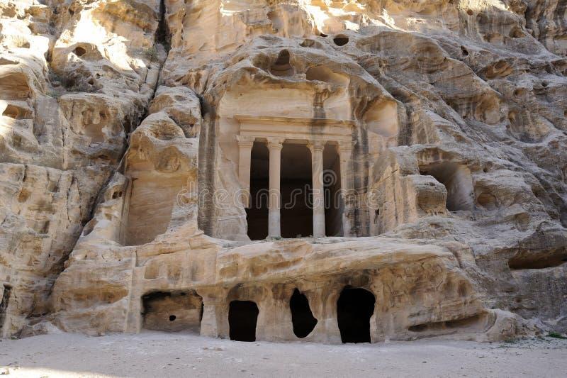 Templo en poco Petra. Jordania fotografía de archivo