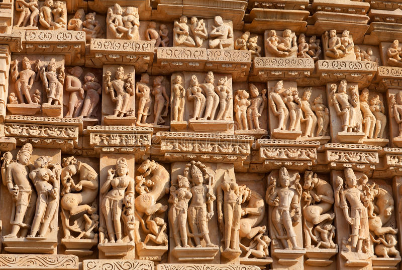 Templo erótico famoso em Khajuraho, India imagem de stock