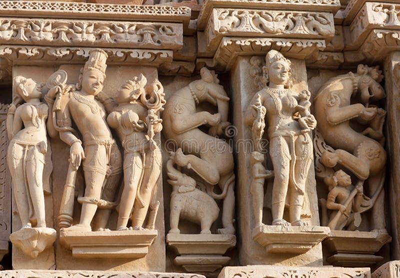 Templo erótico famoso em Khajuraho, India imagens de stock