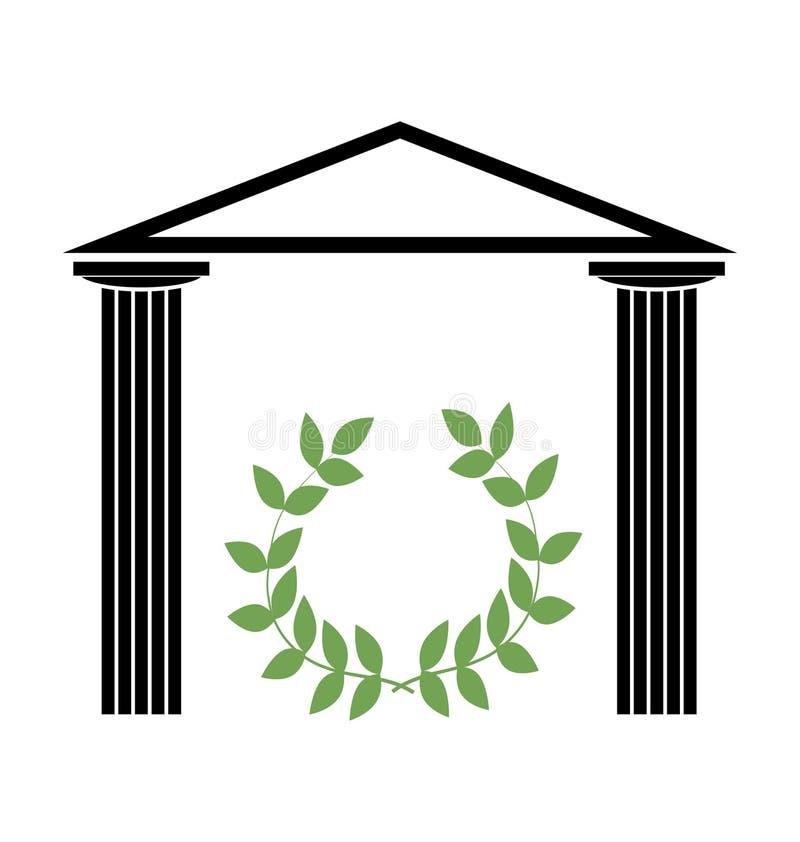 Templo grego com colunas Doric ilustração stock