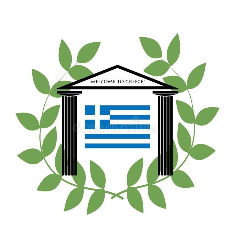 Templo grego com colunas Doric e bandeira grega ilustração stock