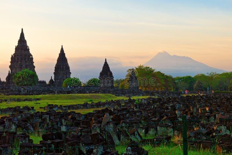Templo hindú de Prambanan imagen de archivo libre de regalías