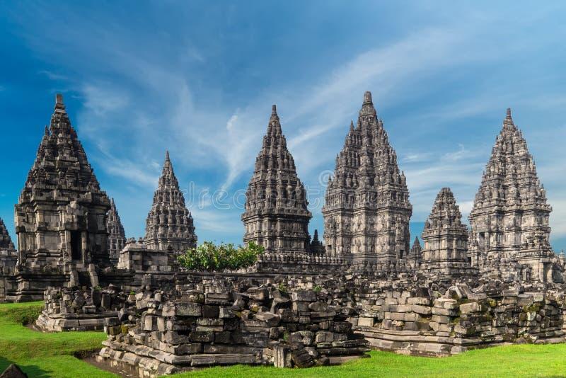 Templo hindú de Prambanan Java central, Indonesia imágenes de archivo libres de regalías