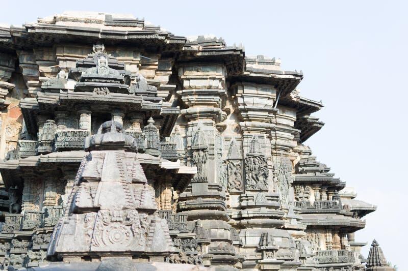 Templo hindú viejo en Halebidu, Karnataka, la India fotografía de archivo libre de regalías