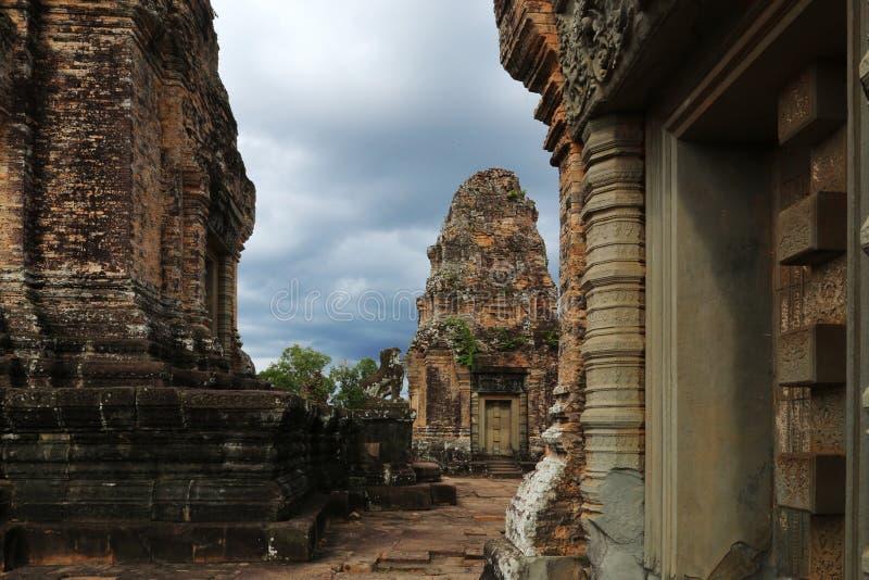Templo hindu Camboja de Banteay Srei fotografia de stock