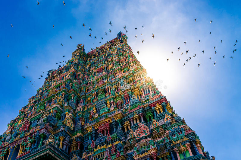 Templo hindu de Meenakshi em Madurai foto de stock royalty free