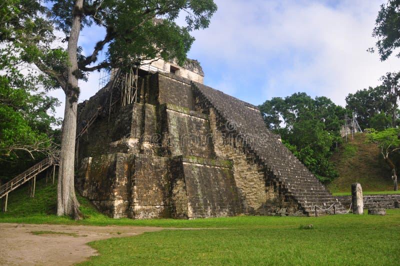 Templo II, Tikal的,危地马拉Gran广场 图库摄影