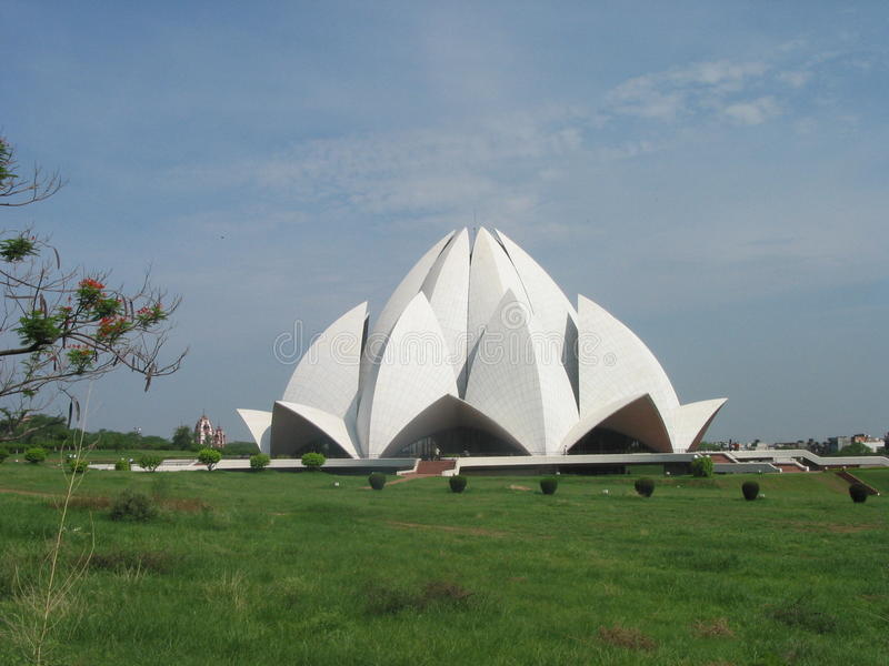 Templo inter Nova Deli India dos lótus de Bahai da fé fotos de stock