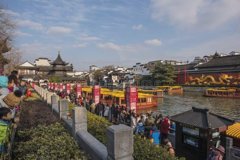 Templo lunar chino de Nanjing Confucio del Año Nuevo de turistas imagen de archivo libre de regalías