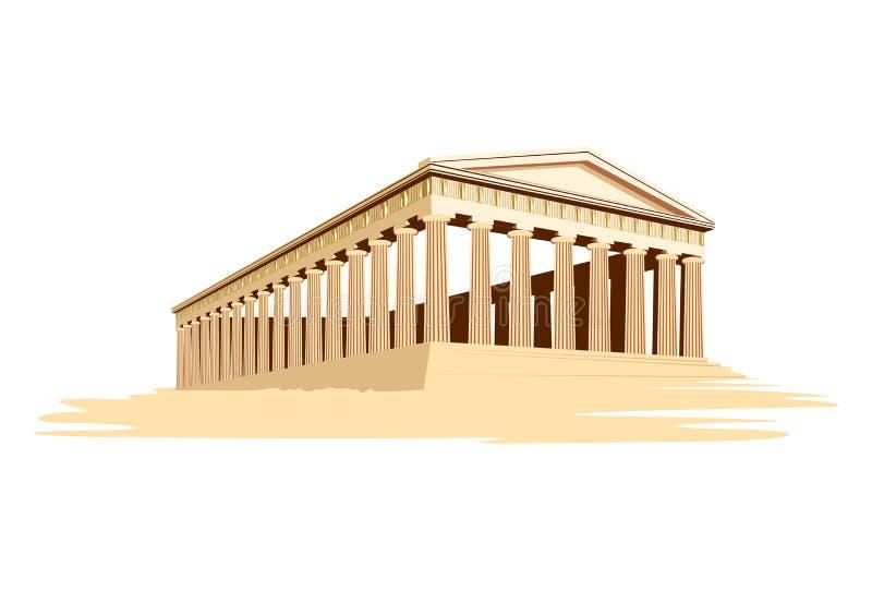 Templo majestuoso viejo de Grecia stock de ilustración