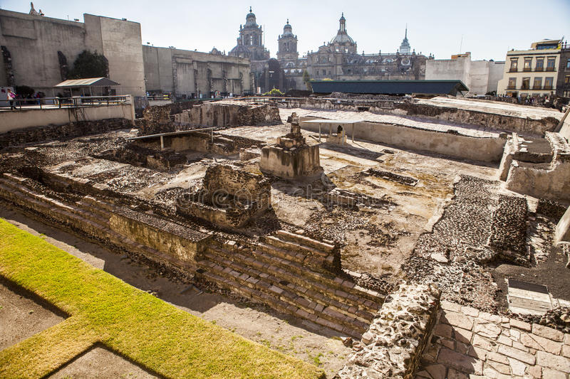 Templo Mayor, Temple, ruin, Mexico city. He Templo Mayor was one of the main temples of the Aztecs in their capital city of Tenochtitlan, which is now Mexico stock photos