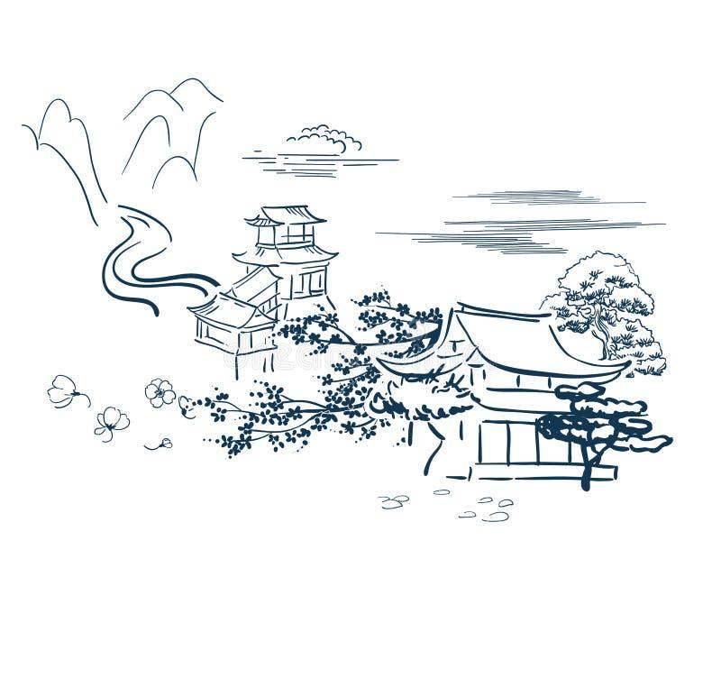 Templo a motor japonês do cartão do esboço do vetor dos símbolos tradicional ilustração stock