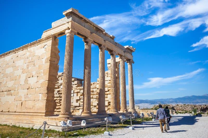 Templo na acrópole, Atenas de Erechtheion, Grécia fotografia de stock royalty free