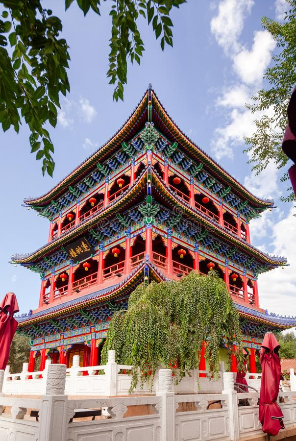 Templo no monte Urumqi Xinjiang China de Hong Shan imagem de stock royalty free