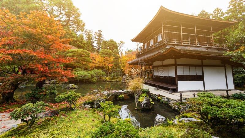 Templo no outono no por do sol, Kyoto de Ginkakuji fotos de stock royalty free