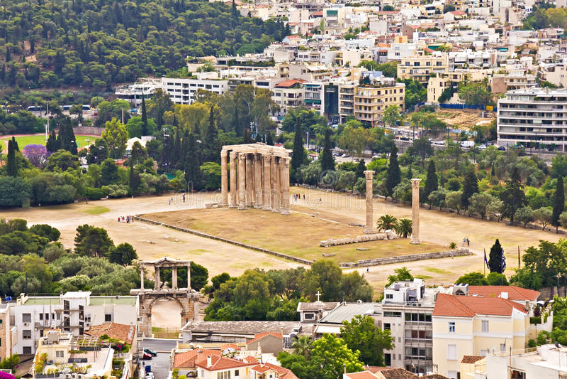 Templo Olímpico De Zeus, Atenas Fotografía de archivo