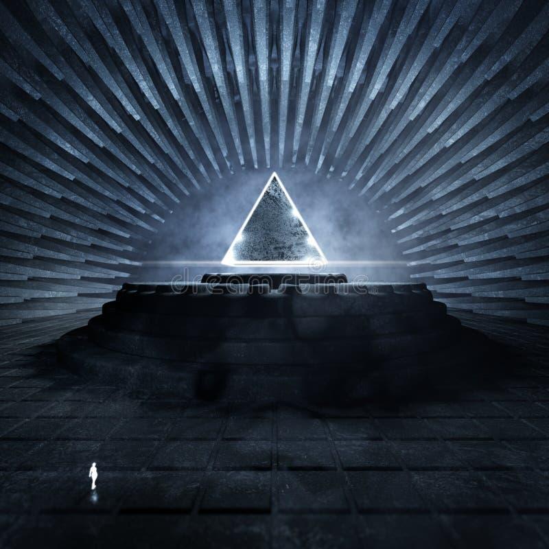 Templo oscuro con el triángulo que brilla intensamente stock de ilustración
