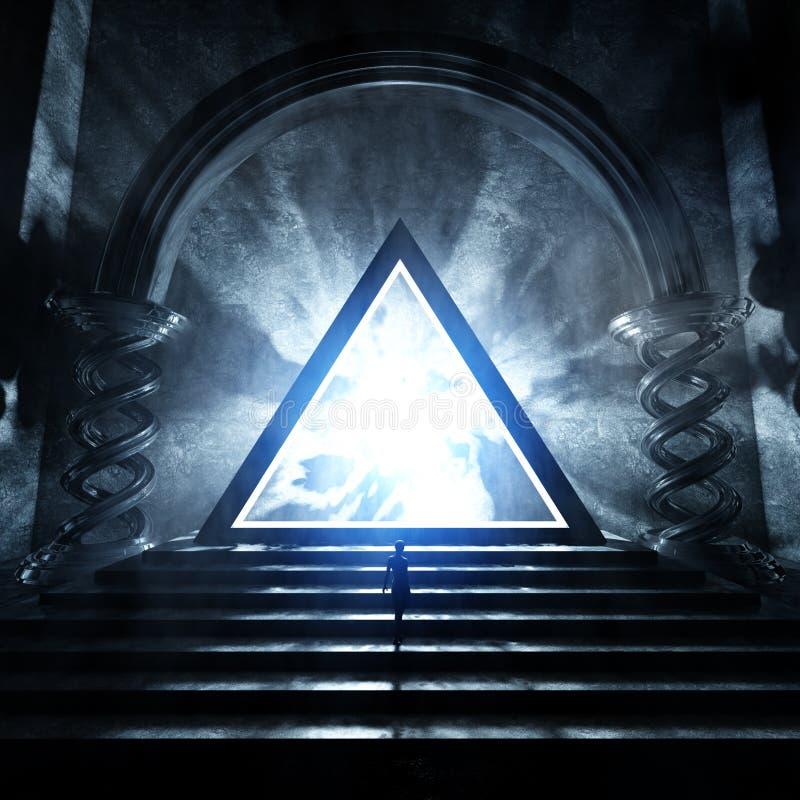 Templo oscuro con el triángulo que brilla intensamente ilustración del vector