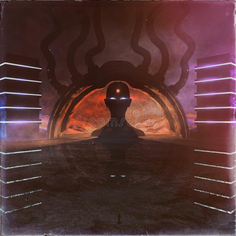 Templo oscuro extraño ilustración del vector