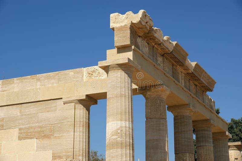 Templo parcialmente reconstruído de Athena Lindia fotos de stock royalty free