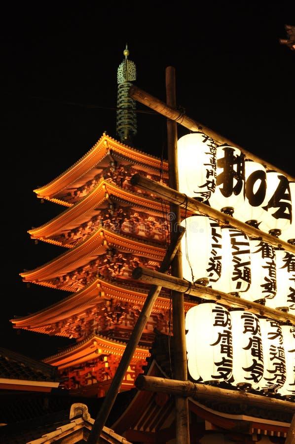 Templo por noche, Tokio, Japón de Sensoji foto de archivo