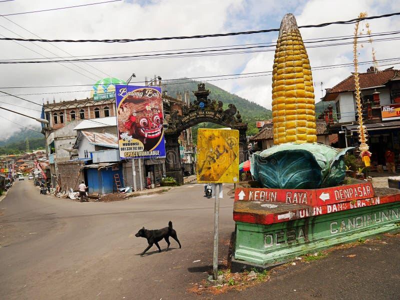 Templo principal na água em Bali, Pura Oolong Danu Bratan, lago Bratan, templo bonito, água em torno do templo, estátuas em Bali fotos de stock