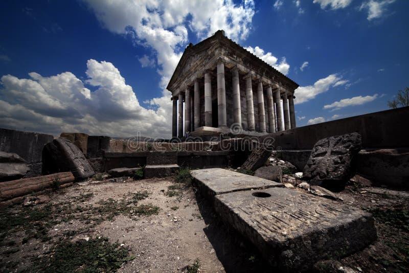 Templo romano del tiempo en Armenia Garni foto de archivo